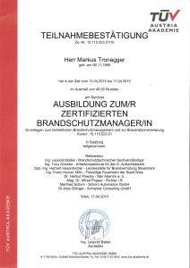 Zeugnis zum zertifizierten Brandschutzmanager