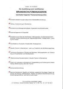 Themenschwerpunkte zum zertifizierten Brandschutzmanager